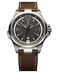 Victorinox | Brown 'night Vision' Leather Strap Watch for Men | Lyst