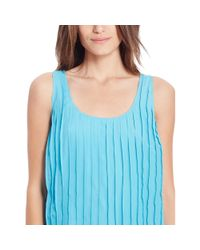 Ralph Lauren - Blue Pleated Sleeveless Dress - Lyst