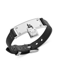 Michael Kors - Black Silver Tone and Leather Padlock Charm Adjustable Bracelet - Lyst