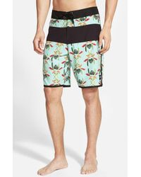 Ezekiel | Black 'Kona' Scalloped Hem Board Shorts for Men | Lyst