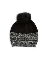 UGG | Black Shearling Pom-pom Knit Hat | Lyst