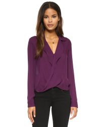 L'Agence - Purple Drape Front Blouse - Lyst