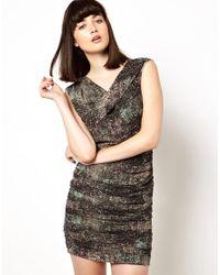 IRO - Black Abstract Print Drape Dress With Zip Back - Lyst