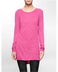 Calvin Klein | Purple White Label Performance Heathered Raglan Sleeve Top | Lyst