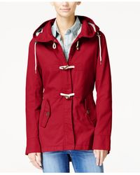 Celebrity Pink | Red Hooded Toggle Jacket | Lyst
