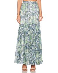 Marchesa Voyage - Green Pleated Maxi Skirt - Lyst