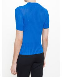 Carven - Blue Ribbed T-shirt - Lyst