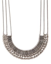 Lucky Brand | Metallic Silvertone Textured Bead Collar Necklace | Lyst