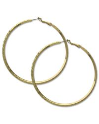 Guess | Metallic Gold-tone Clutchless Textured Hoop Earrings | Lyst