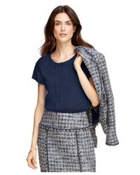 Brooks Brothers - Blue Silk Pleat-front Blouse - Lyst