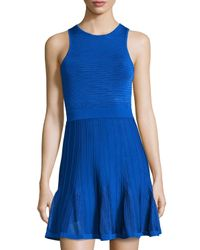 Trina Turk | Blue Knit Pleated-bottom Dress | Lyst