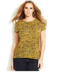 Michael Kors - Yellow Michael Plus Size Short-Sleeve Snakeskin-Print Top - Lyst