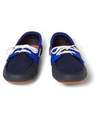 Swims | Blue Colourblock Rubber and Mesh Boat Shoes for Men | Lyst