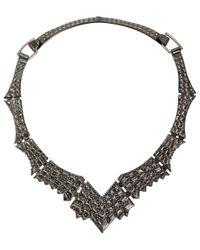 Venyx - Metallic Lady Caiman Black Necklace - Lyst
