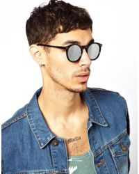 ASOS - Black Keyhole Round Sunglasses with Mirror Lens for Men - Lyst