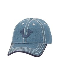 True Religion - Blue Crackle Print Baseball Cap for Men - Lyst