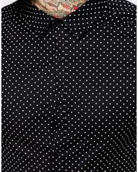 ASOS | Black Skinny Shirt In Long Sleeve With Polka Dot for Men | Lyst