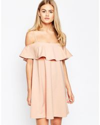 ASOS - Blue Swing Dress With Cold Shoulder And Ruffle Detail - Lyst