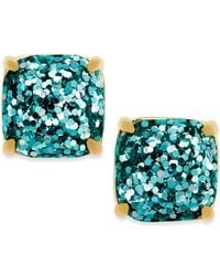 Kate Spade   Blue Gold-tone Small Square Stud Earrings   Lyst