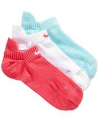 Nike | Blue Women's Dri-fit Half-cushion No-show Socks 3-pack | Lyst