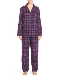 Lauren by Ralph Lauren | Purple Plaid Brushed Cotton Pajamas | Lyst