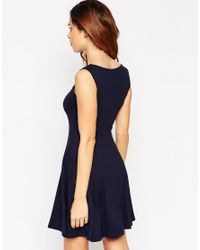 ASOS | Blue Skater Dress With Sweetheart Neck | Lyst