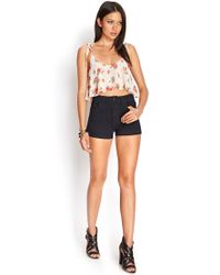 Forever 21   White Floral Crop Top   Lyst