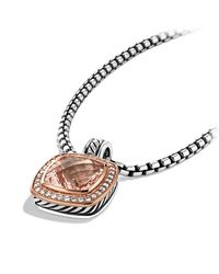 David Yurman   Pink Albion Pendant With Diamonds In Rose Gold, 14Mm Gemstone   Lyst