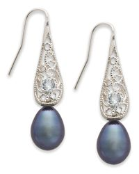 Macy's | Sterling Silver Earrings, Black Cultured Freshwater Pearl (8Mm) And Blue Topaz (1/6 Ct. T.W.) Drop Earrings | Lyst