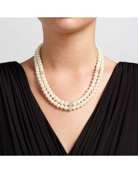 John Lewis | White Double Row Pave Pearl Necklace | Lyst