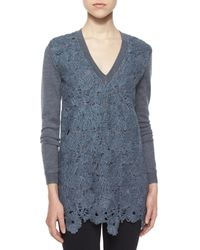 Lela Rose - Blue Guipure Lace Sweater - Lyst