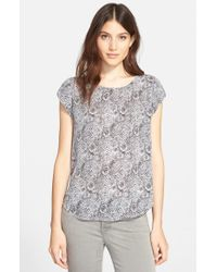 Joie | Gray 'Rancher B' Print Silk Top | Lyst