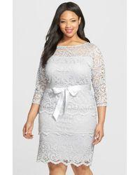 Marina | Metallic Tiered Stretch Lace Sheath Dress | Lyst