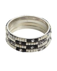 Chamak by Priya Kakkar - Set Of 4 - Black And Silver Jeweled Bangles - Lyst