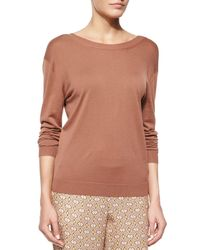 Theory - Brown Karinalee Preen V-back Long-sleeve Top - Lyst
