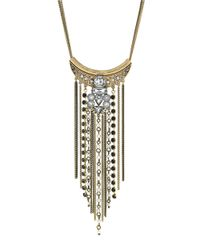 BCBGeneration | Metallic Faux Pearl And Chain Bib Necklace | Lyst