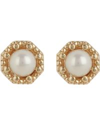 Grace Lee | Metallic Women's Petite Crown Bezel Diamond Studs | Lyst