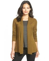 Eileen Fisher | Metallic Wool Shaped Cardigan | Lyst
