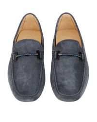 """Tod's - Blue """"spider"""" Embossed Leather Driving Shoes for Men - Lyst"""