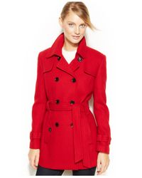Calvin Klein | Red Double-breasted Belted Pea Coat | Lyst