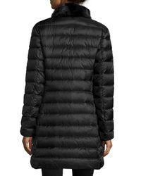 Moncler - Black Ancy Quilted Puffer Coat W/mink Fur Trim - Lyst