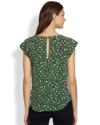 Joie - Green Rancher Printed Silk Blouse - Lyst
