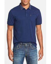 Ben Sherman | Blue Geo Print Collar Pique Polo for Men | Lyst
