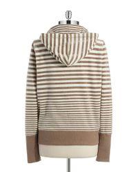 Calvin Klein | Brown Striped Velour Zip Up Jacket | Lyst