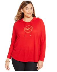 Michael Kors | Red Michael Plus Size Hooded Logo Sweater | Lyst