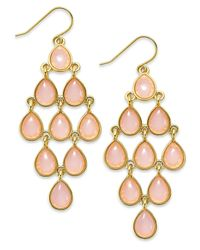 Lauren by Ralph Lauren - Pink Gold-Tone Stone Teardrop Chandelier Earrings - Lyst