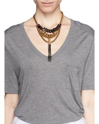 Ela Stone - Metallic Anita Layer Chain Fringe Plastron Necklace - Lyst