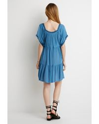 Forever 21 - Blue Embroidered Peasant Dress - Lyst