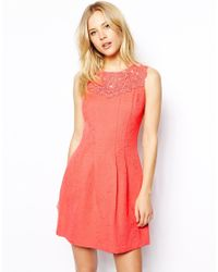 Oasis - Orange Trim Fit And Flare Dress - Lyst