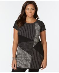 Style & Co. | Black Plus Size Patchwork-knit Tunic Sweater | Lyst